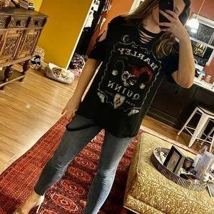 Custom Tops - Harley Quinn Custom Distressed Black Rocker Tee